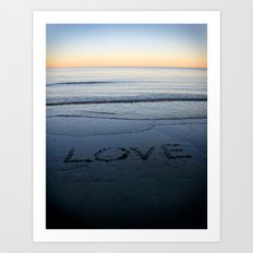 Love On The Horizon - Written in The Sand Art Print