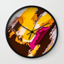 yellow brown and pink painting abstract background Wall Clock