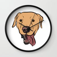 levi Wall Clocks featuring Levi the Yellow Lab by Rachel Barrett