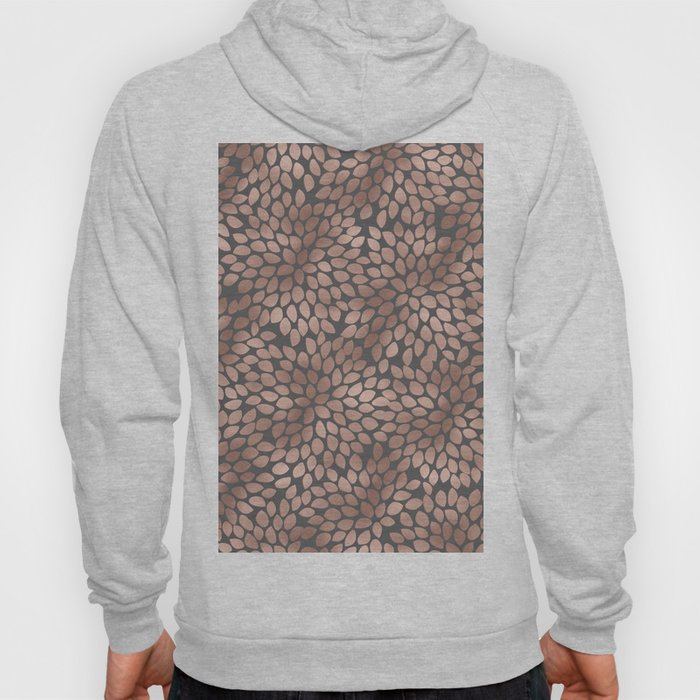 Rosegold flowers - abstract floral elegant pattern on grey background Hoody