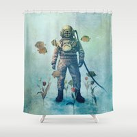 fish Shower Curtains featuring Deep Sea Garden  by Terry Fan