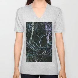 Black Marble With Colored Veins Unisex V-Neck