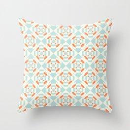 Simple geometric stripe flower orange and light blue Throw Pillow