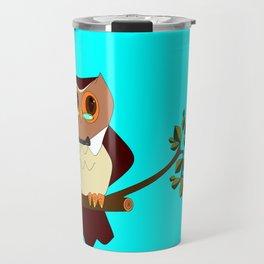 A Wise Ole Owl on a Branch Travel Mug