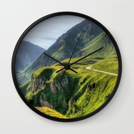 Mountains, green, gigantic, steep and rolling Wall Clock