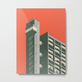 Trellick Tower London Brutalist Architecture - Plain Red Metal Print