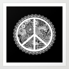 Zen Doodle Peace Symbol Black And White Art Print