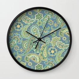 Blue and Gold Paisley Wall Clock