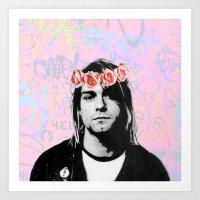 kurt rahn Art Prints featuring Kurt..  by pinkundaztood