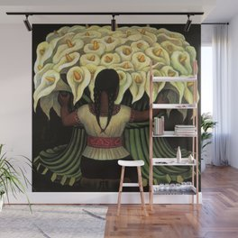 1941 Classical Masterpiece Calla lily 'Flower Seller' by Diego Rivera Wall Mural