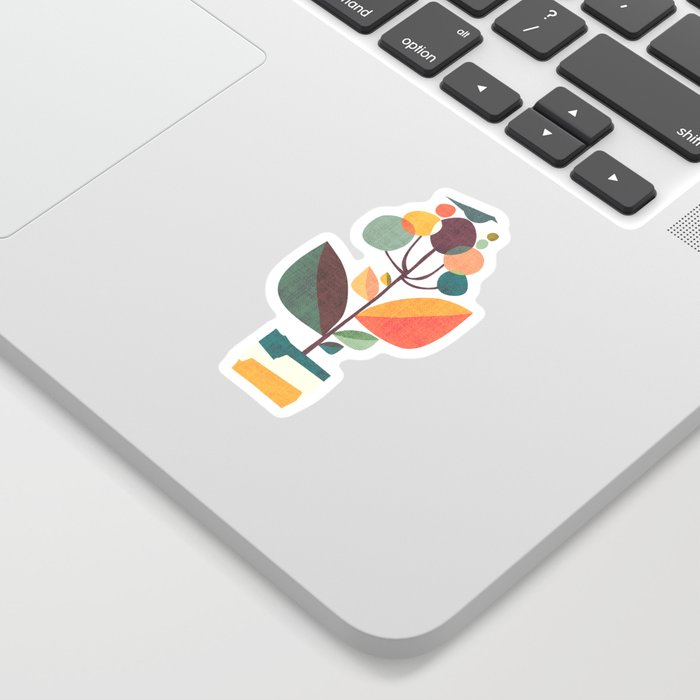 Potted plant with a bird Sticker