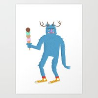 sasquatch Art Prints featuring sasquatch by Thom BRANSDON Illustration