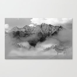 Wolves and the mountain Canvas Print