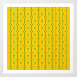 Oval and Stripe Pattern- Spring Green and Yellow  Art Print