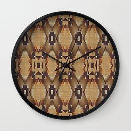 Khaki Tan Orange Dark Brown Native American Indian Mosaic Pattern Wall Clock