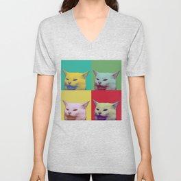 Pop art yelling cat meme Unisex V-Neck