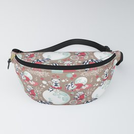 The cat who loves rainy nights // brown background Fanny Pack