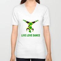 jamaica V-neck T-shirts featuring Jamaica Jamaica Jamaica by cleopetradesign.com