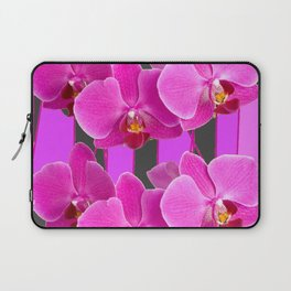 MODERN CHARCOAL GREY COLOR CERISE PURPLE ORCHIDS Laptop Sleeve
