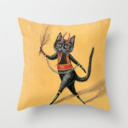 Krampus cat Throw Pillow