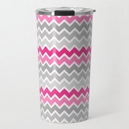 Grey Gray Hot Pink Ombre Chevron Travel Mug
