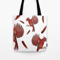 cardinal Tote Bags featuring Cardinal by Jody Edwards Art