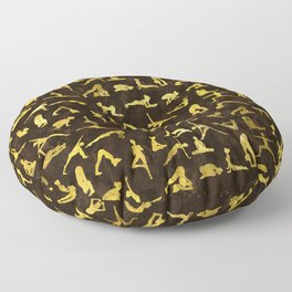 Gold Yoga Asanas / Poses pattern Floor Pillow