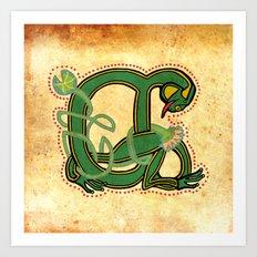 Vintage Medeival Frog Letter A 2017 Art Print