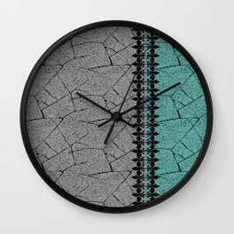 Grey , turquoise background with decorative vertical stripe. Wall Clock