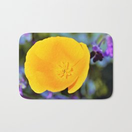 California Poppy with Purples by Reay of Light Photography Bath Mat