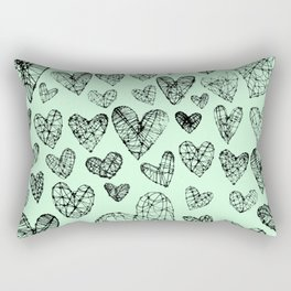 Wire Hearts in Mint Rectangular Pillow