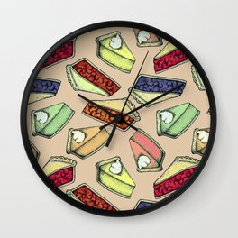 Easy As Pie - cute hand drawn illustrations of pie on neutral tan Wall Clock