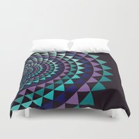arya Duvet Covers featuring Spiral Yantra by Hinal Arya