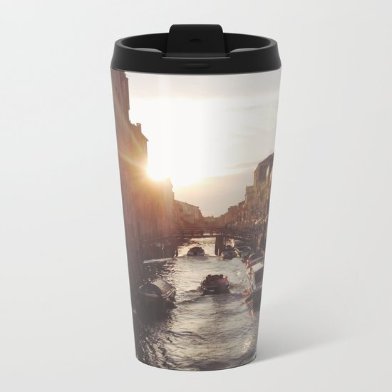 BOAT - STREETS - RIVER - TOWN - LIFE - CULTURE - PHOTOGRAPHY Metal Travel Mug