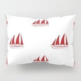 Red Sailboat Pattern Pillow Sham
