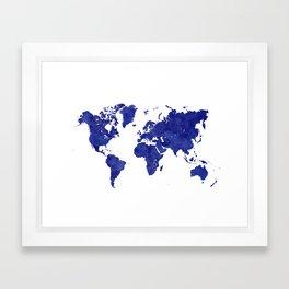 Vintage navy blue world map Framed Art Print