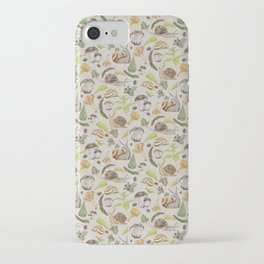 Woodland Snail in Watercolor Fungi Forest, Moss Green and Ochre Earth Animal Pattern iPhone Case