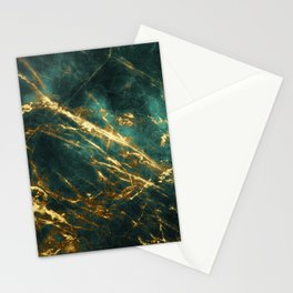 Glamorous Green Faux Marble Pattern With Gold Veins Stationery Cards