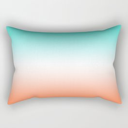 Turquoise White and Coral Ombre Rectangular Pillow
