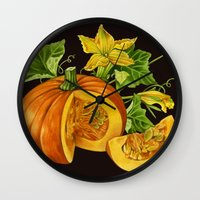 pumpkin Wall Clocks featuring Pumpkin by ElenaTerrin