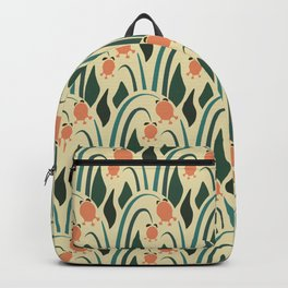 a lot of flowers for art deco green Backpack