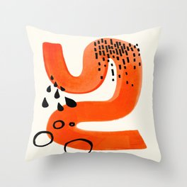 Mid Century Modern abstract Minimalist Fun Colorful Shapes Patterns Orange Brush Stroke Watercolor Throw Pillow