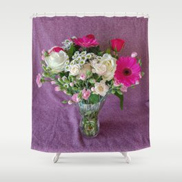 Flowers in a vase - pink gerberas, carnations, daisies, red and white roses Shower Curtain