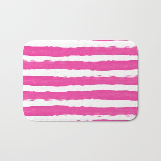 Simple pink and white handrawn stripes - horizontal - for your summer on #Society6 Bath Mat