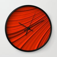 renaissance Wall Clocks featuring Renaissance Red by Charma Rose