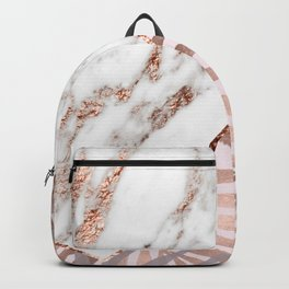 Rose gold marble & tropical ferns Backpack