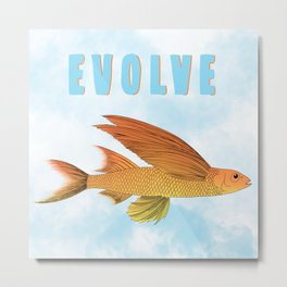Evolve fish with wings flying through the clouds  Metal Print