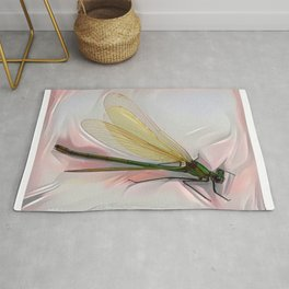 Dragonfly creeps on a white Rug