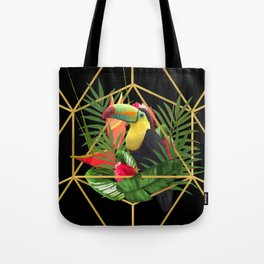 Bold Golden Geometric Tropical Bouquet With Toucan Tote Bag