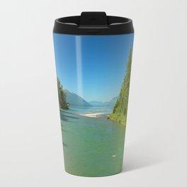 Green Waters Of McDonald River And Lake Travel Mug
